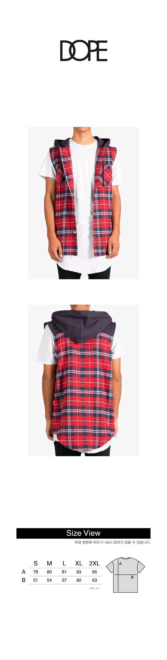 도프 Cut-Off Flannel Hoodie (Navy)