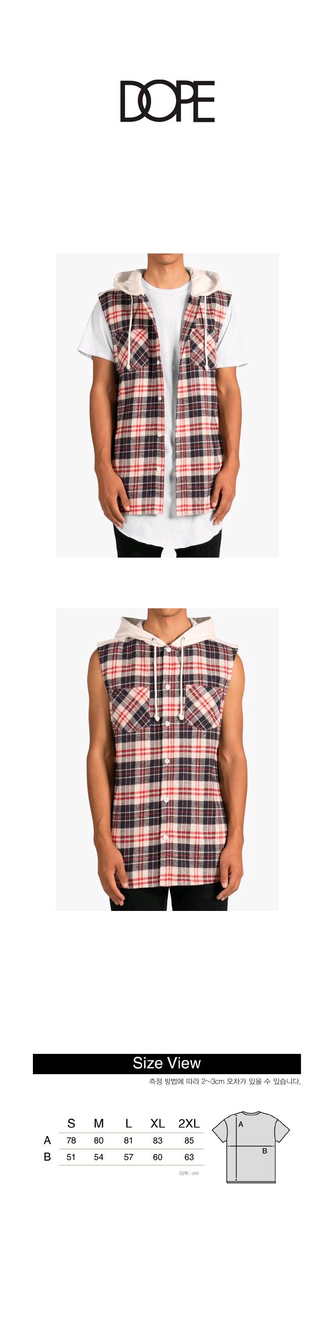 도프 Cut-Off Flannel Hoodie (Off-White)
