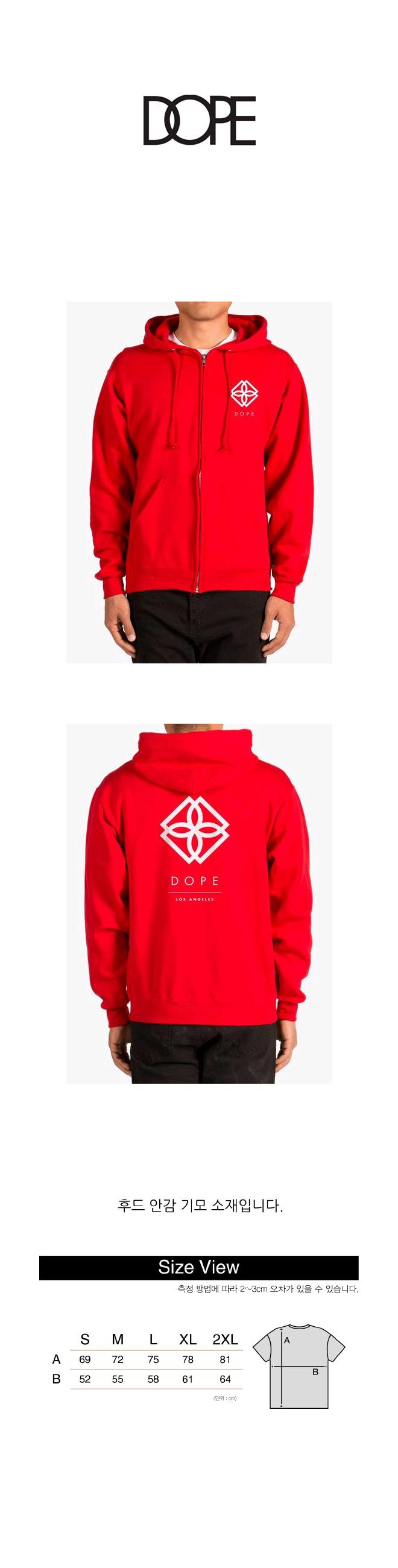 도프 Monogram Zip-Up Hoodie (RED)