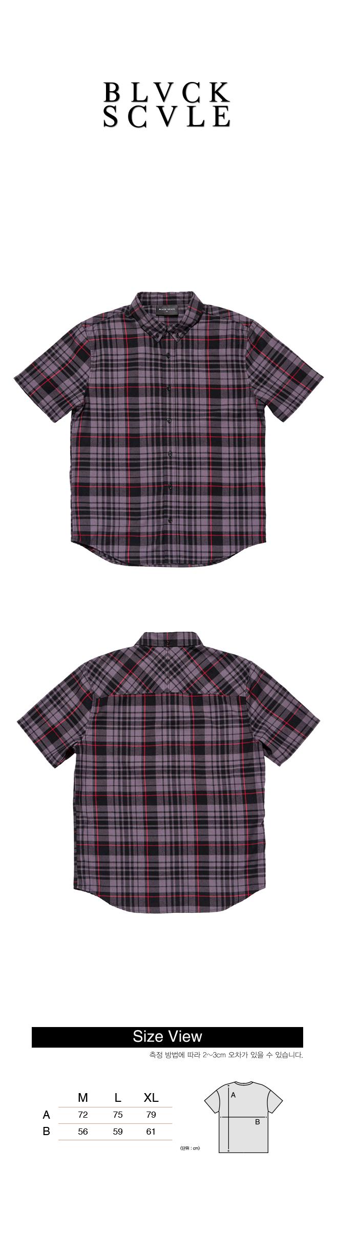 블랙스케일(BLACK SCALE) BLACKSCALE Signature Plaid Short Sleeve Button Down Black